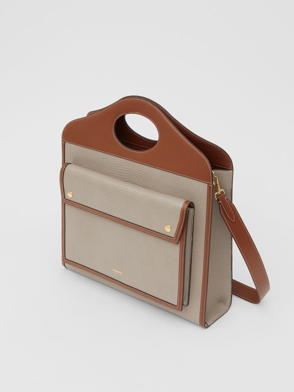 Medium Embossed Deerskin and Leather Pocket Bag in Tan - Women | Burberry Singapore - cell image 3