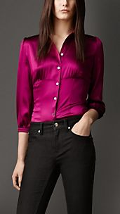 Camicia sfiancata in seta stretch