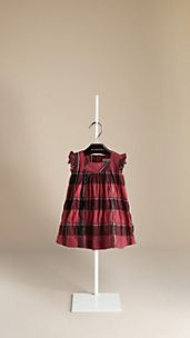 Check Crinkle Cotton Ruffle Dress