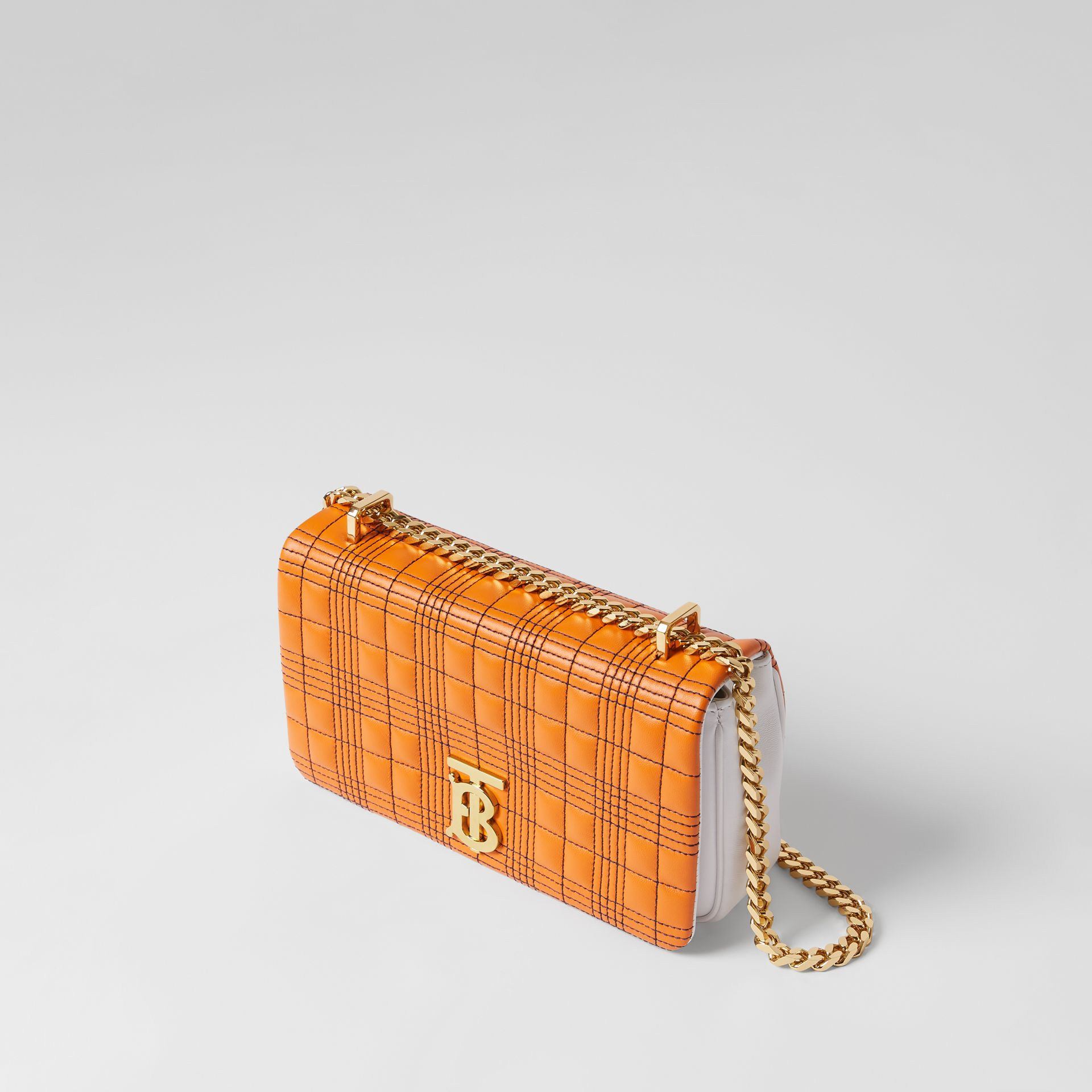 Small Quilted Tri-tone Lambskin Lola Bag in Orange/white - Women | Burberry - gallery image 3