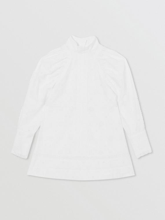 Puff-sleeve Fil Coupé Cotton Blend Dress