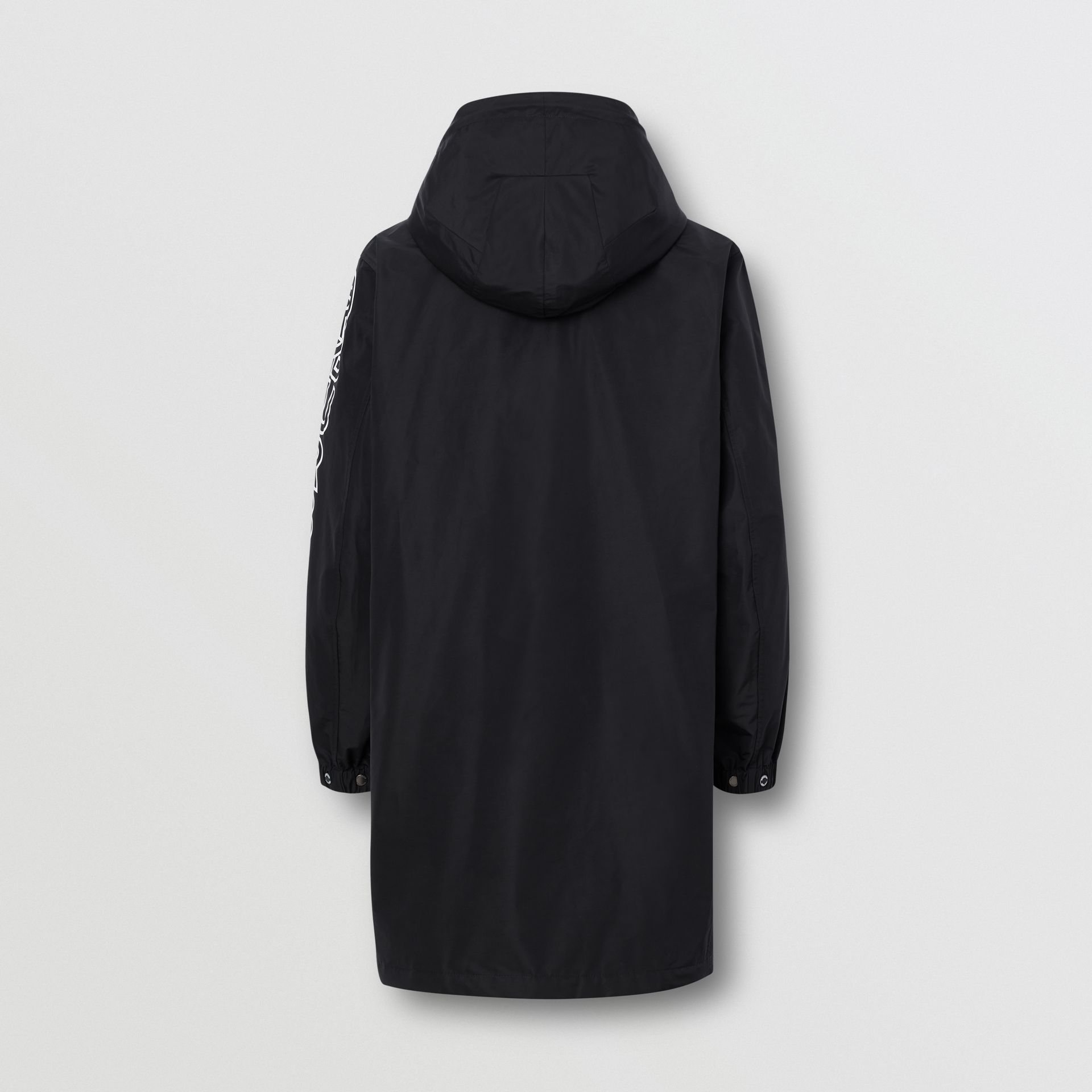Detachable Hood Logo Print Technical Cotton Car Coat in Black - Men | Burberry United States - gallery image 1