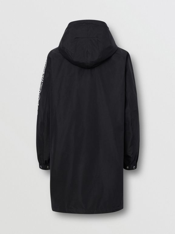 Detachable Hood Logo Print Technical Cotton Car Coat in Black - Men | Burberry United States - cell image 1