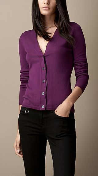 Check Placket Merino Wool Cardigan