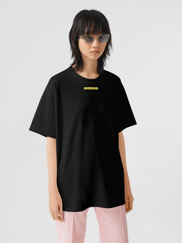 Slogan Print Cotton Oversized T-shirt in Black - Women | Burberry United Kingdom - cell image 3