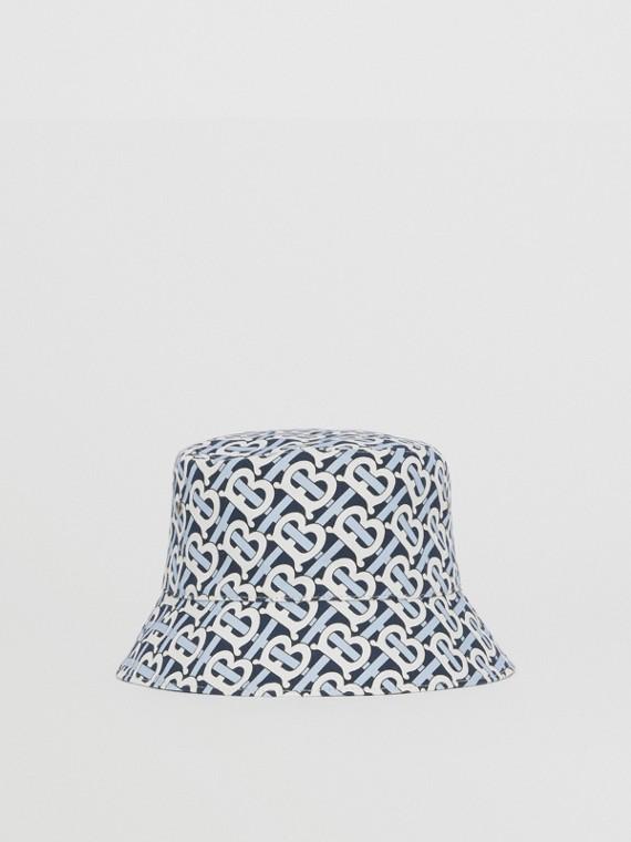Monogram Print Cotton Bucket Hat in White/navy
