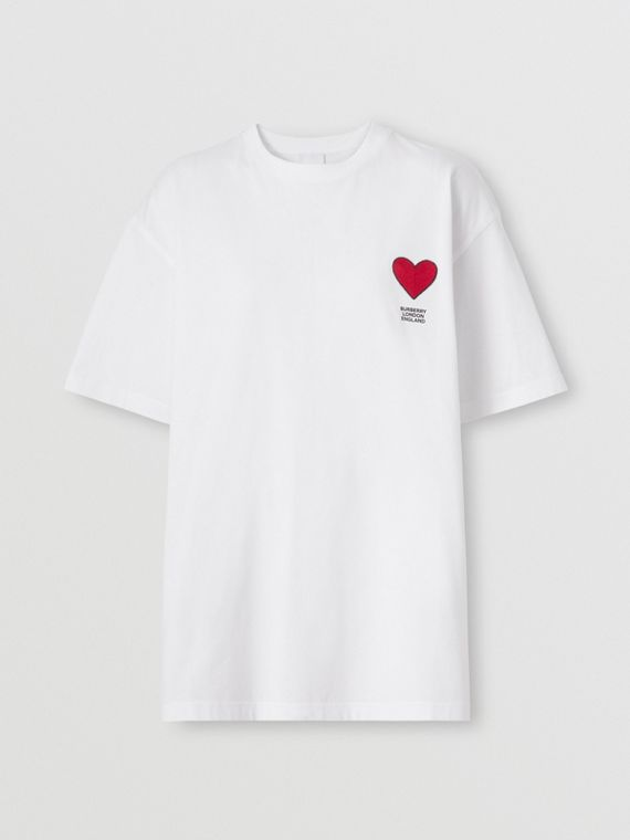 Heart Motif Cotton T-shirt – Unisex in White