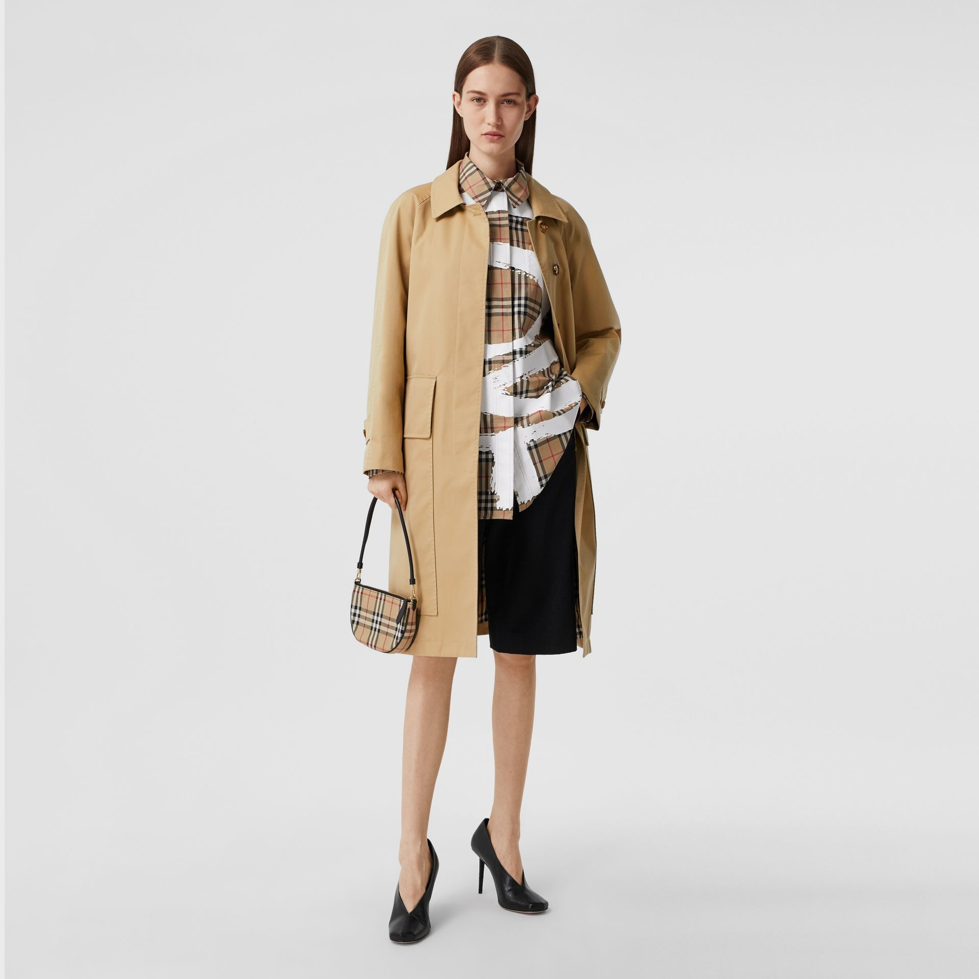 Cotton Gabardine Belted Car Coat in Honey - Women | Burberry - gallery image 0