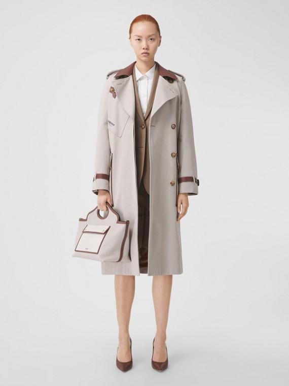 Trench coat de lona de algodão com detalhes em couro (Fulvo Suave Mesclado)