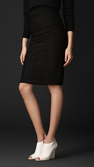 English Tiled Lace Pencil Skirt
