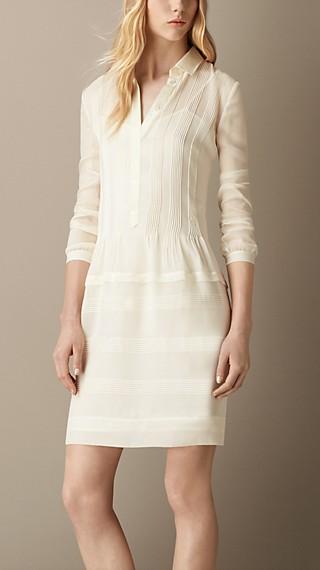 Pintuck Detail Silk Shirt Dress