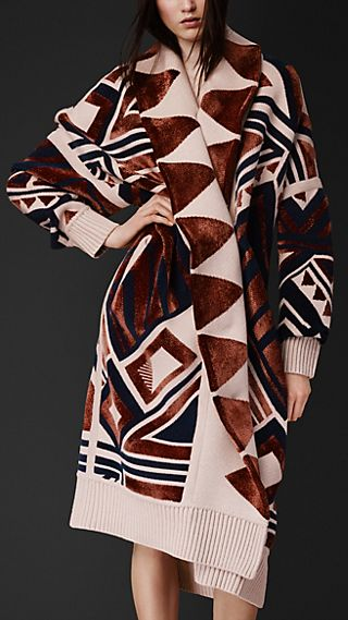Geometric Knit Blanket Coat