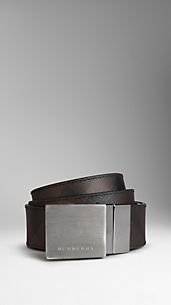 Smoked Check Reversible Leather Plaque Belt