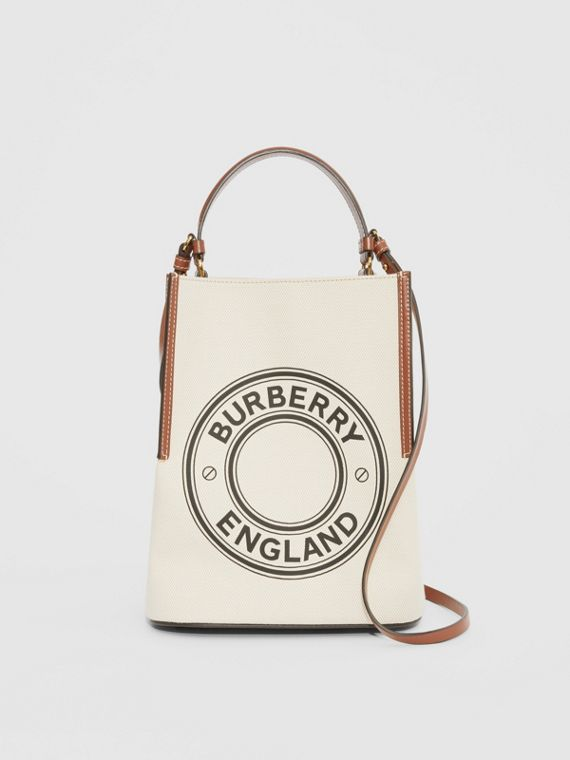 Small Logo Graphic Cotton Canvas Peggy Bucket Bag in Natural