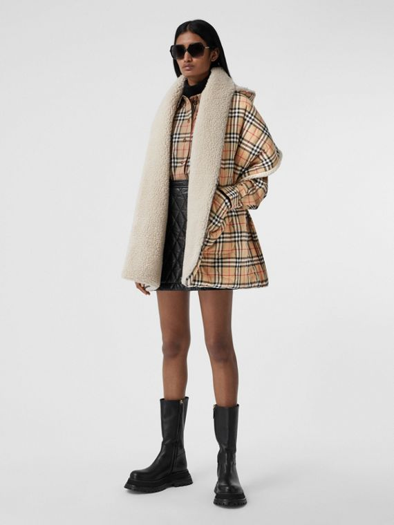 Fleece-lined Vintage Check Cotton Hooded Cape in Camel
