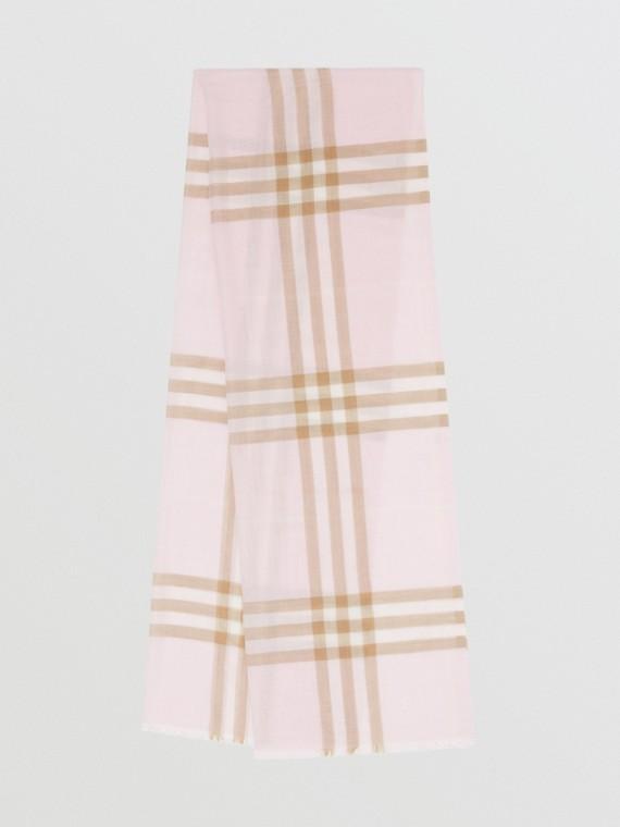 ライトウェイト チェック ウールシルク スカーフ (アラバスター)
