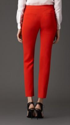 橘红色 修身剪裁罗缎长裤