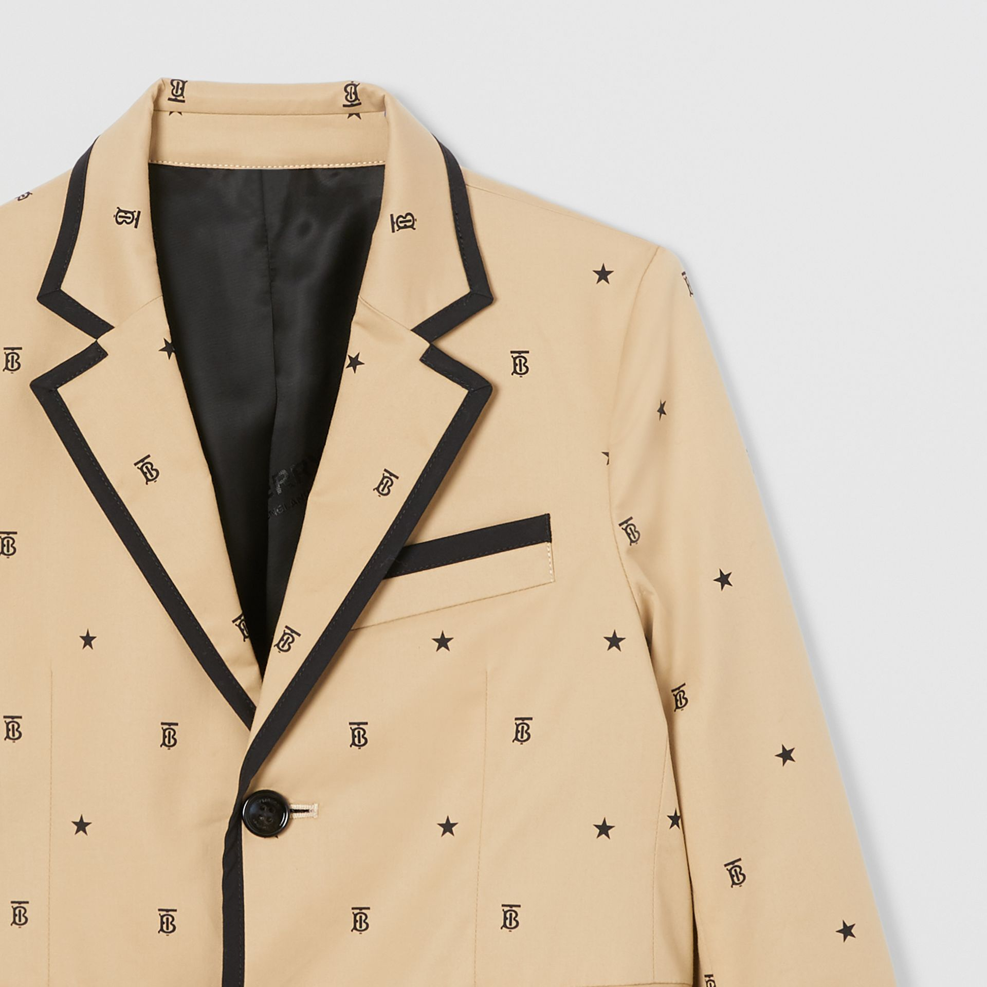 Star and Monogram Motif Stretch Cotton Blazer in Sand | Burberry - gallery image 4