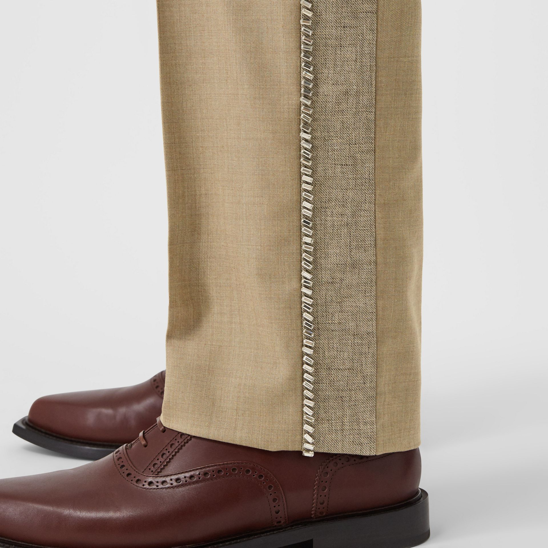 English Fit Crystal Embroidered Wool Cashmere Trousers in Pecan Melange | Burberry United Kingdom - gallery image 5