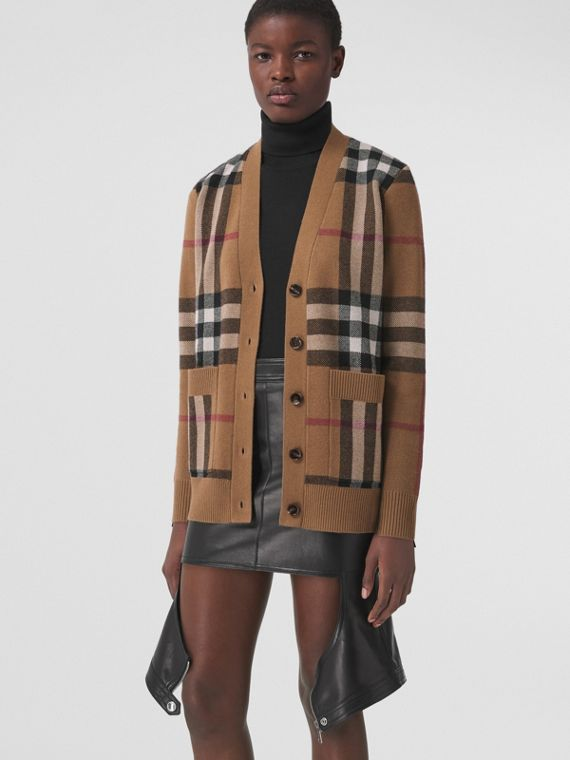 Check Wool Cashmere Jacquard Cardigan in Birch Brown