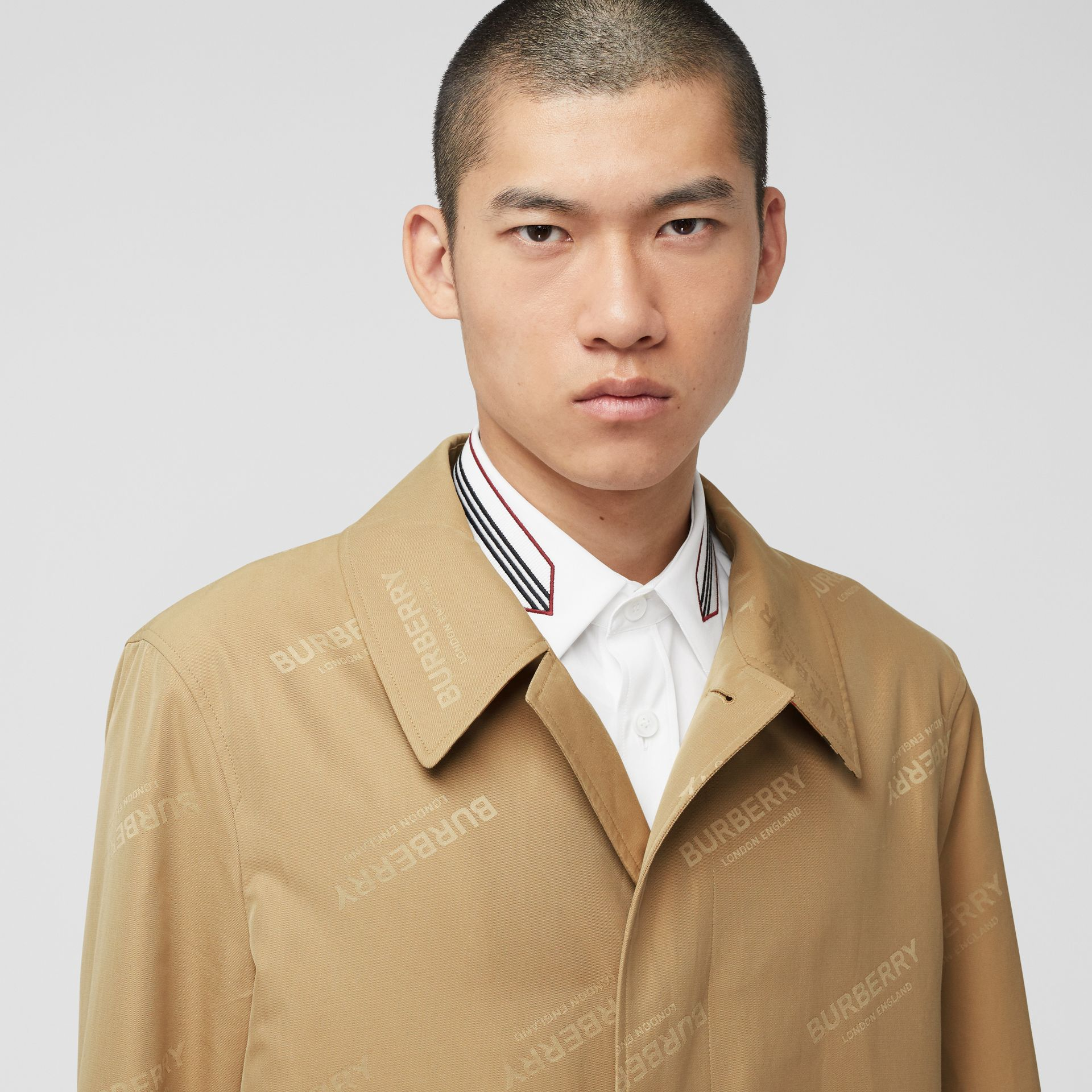 Logo Jacquard Cotton Twill Car Coat in Soft Fawn - Men | Burberry - gallery image 1