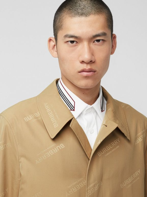 Logo Jacquard Cotton Twill Car Coat in Soft Fawn - Men | Burberry - cell image 1