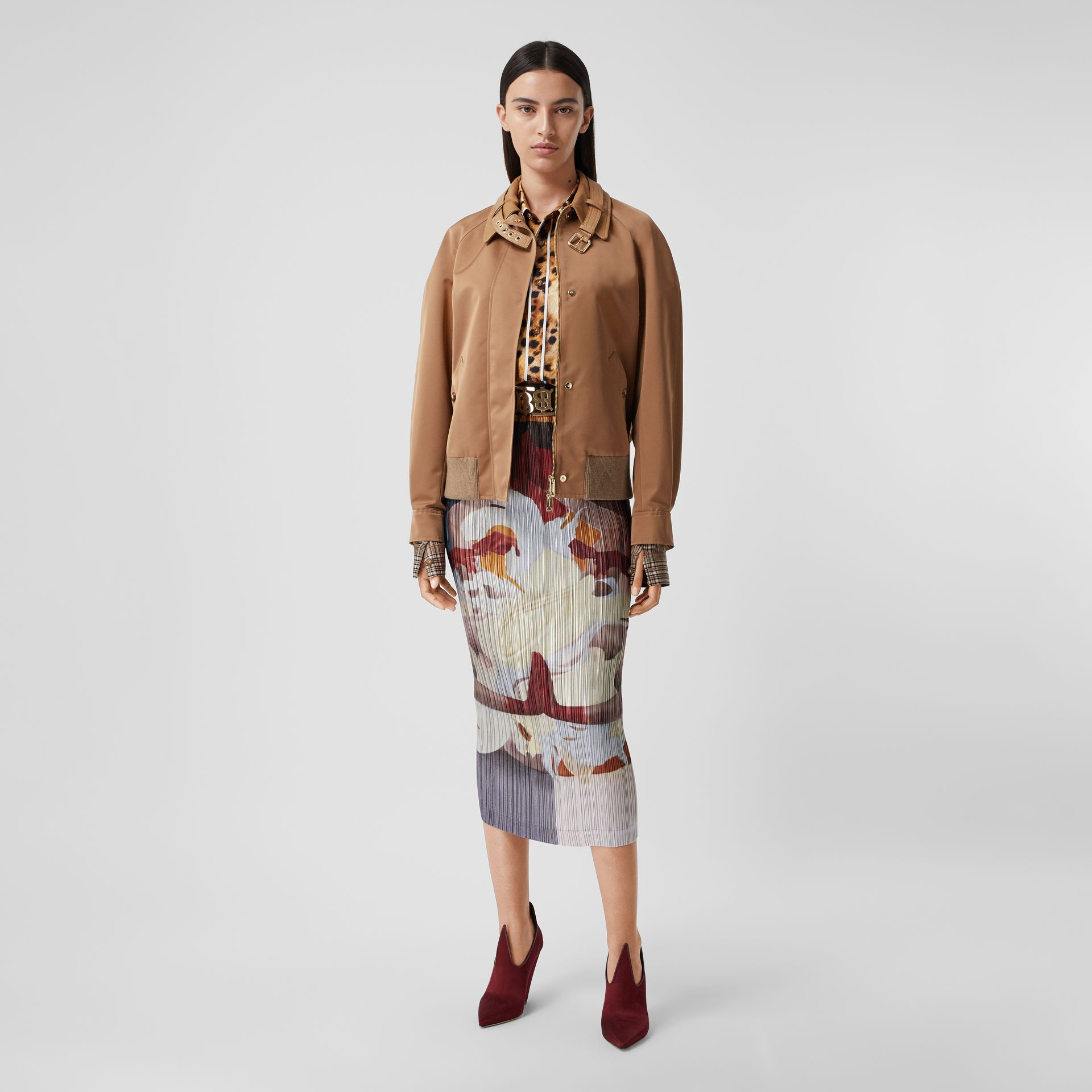 Meditation Print Satin Plissé Skirt in Multicolour - Women | Burberry - gallery image 4