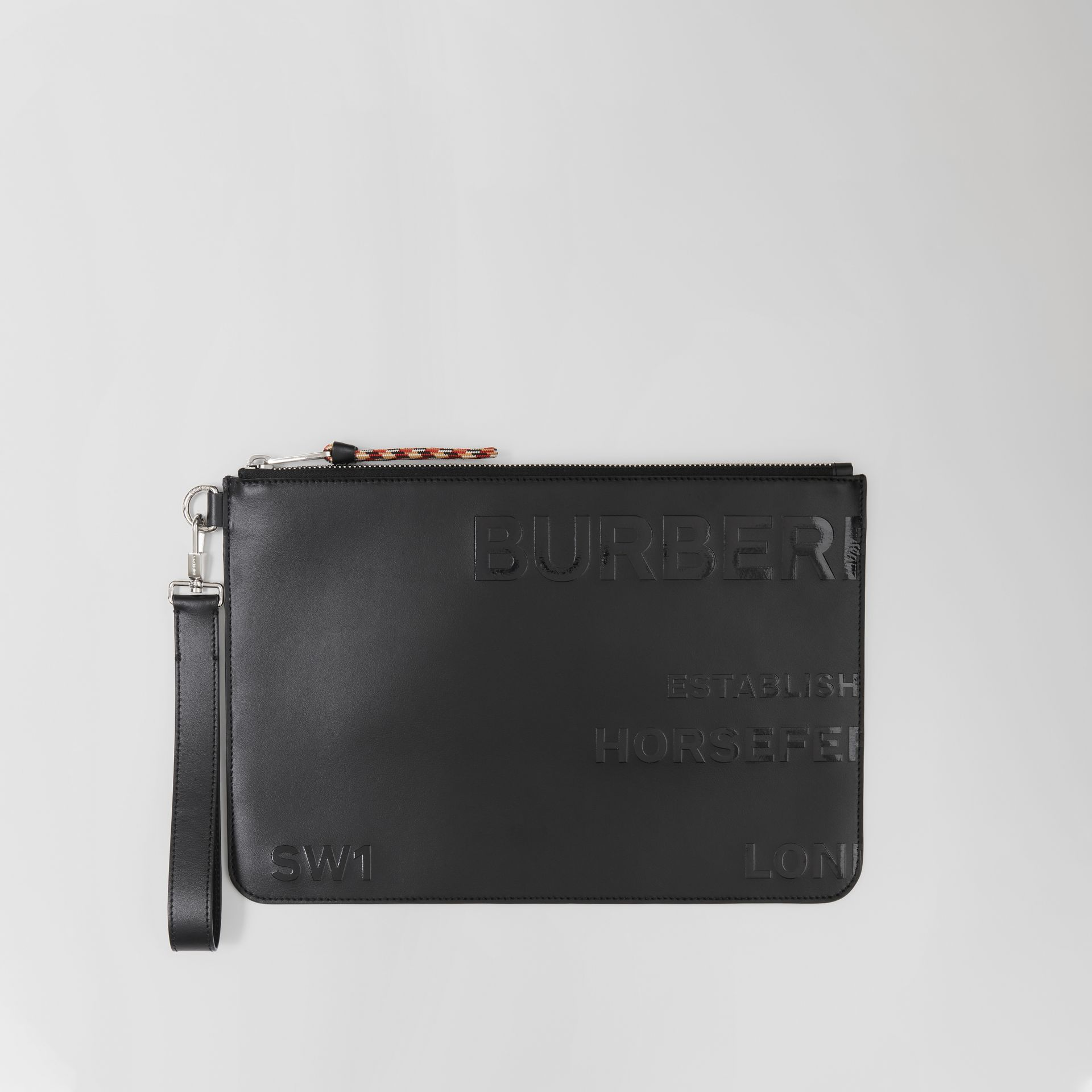 Horseferry Print Leather Zip Pouch in Black | Burberry - gallery image 0