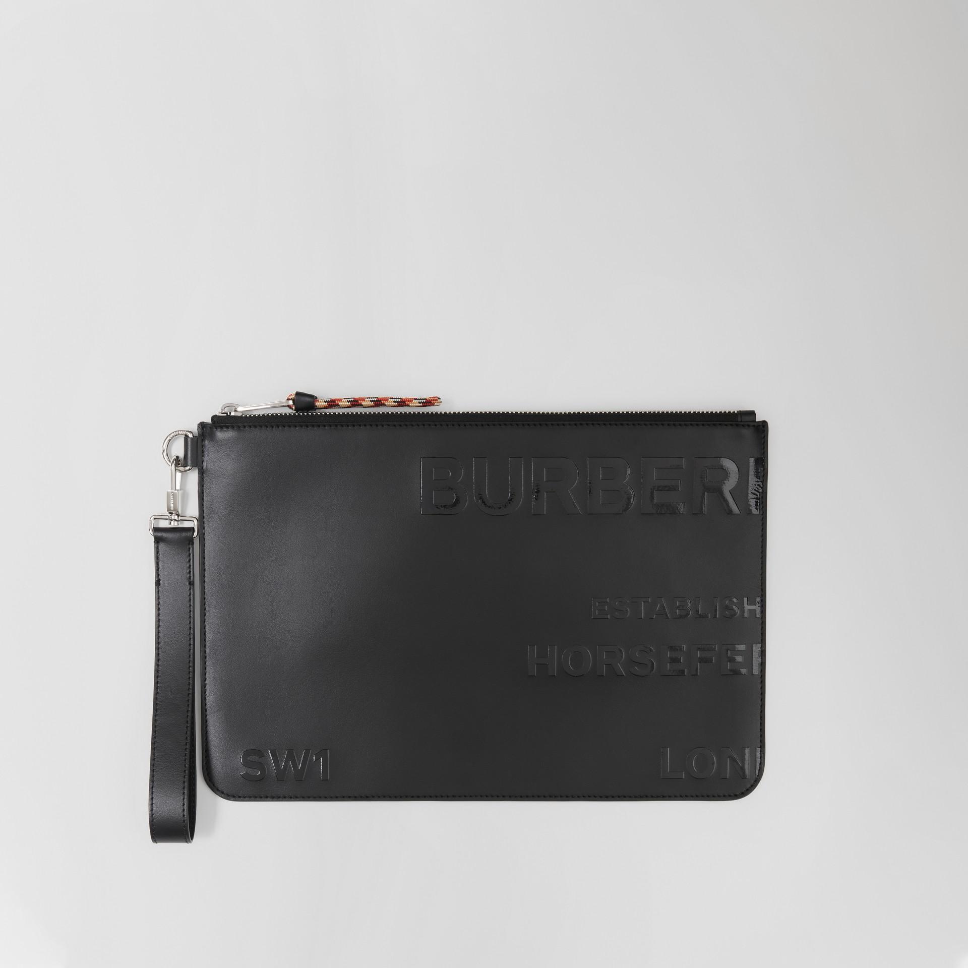 Trousse in pelle con cerniera e stampa Horseferry (Nero) | Burberry - immagine della galleria 0
