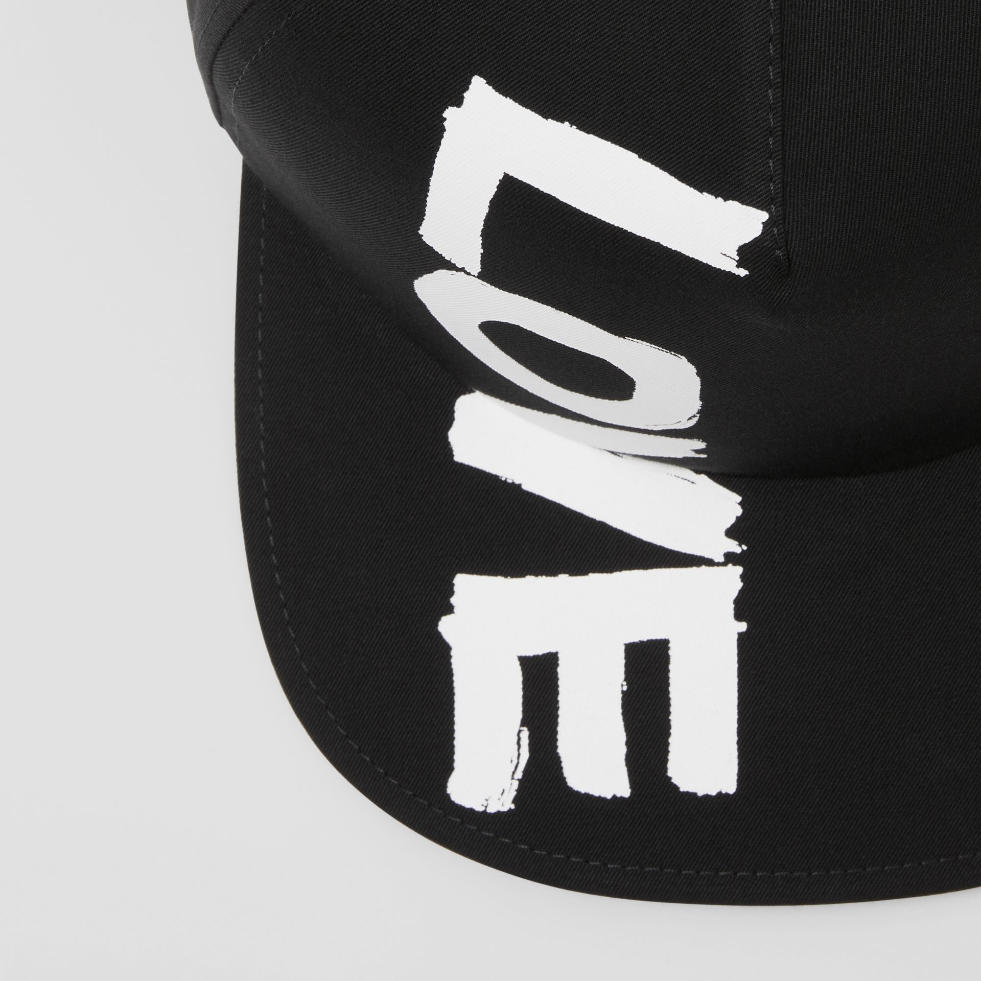 Love Print Cotton Gabardine Baseball Cap in Black | Burberry - gallery image 1