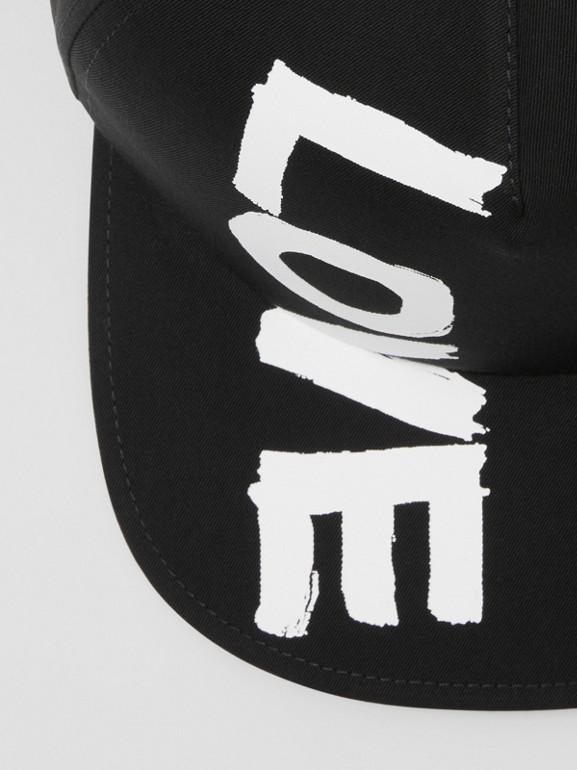 Love Print Cotton Gabardine Baseball Cap in Black | Burberry - cell image 1