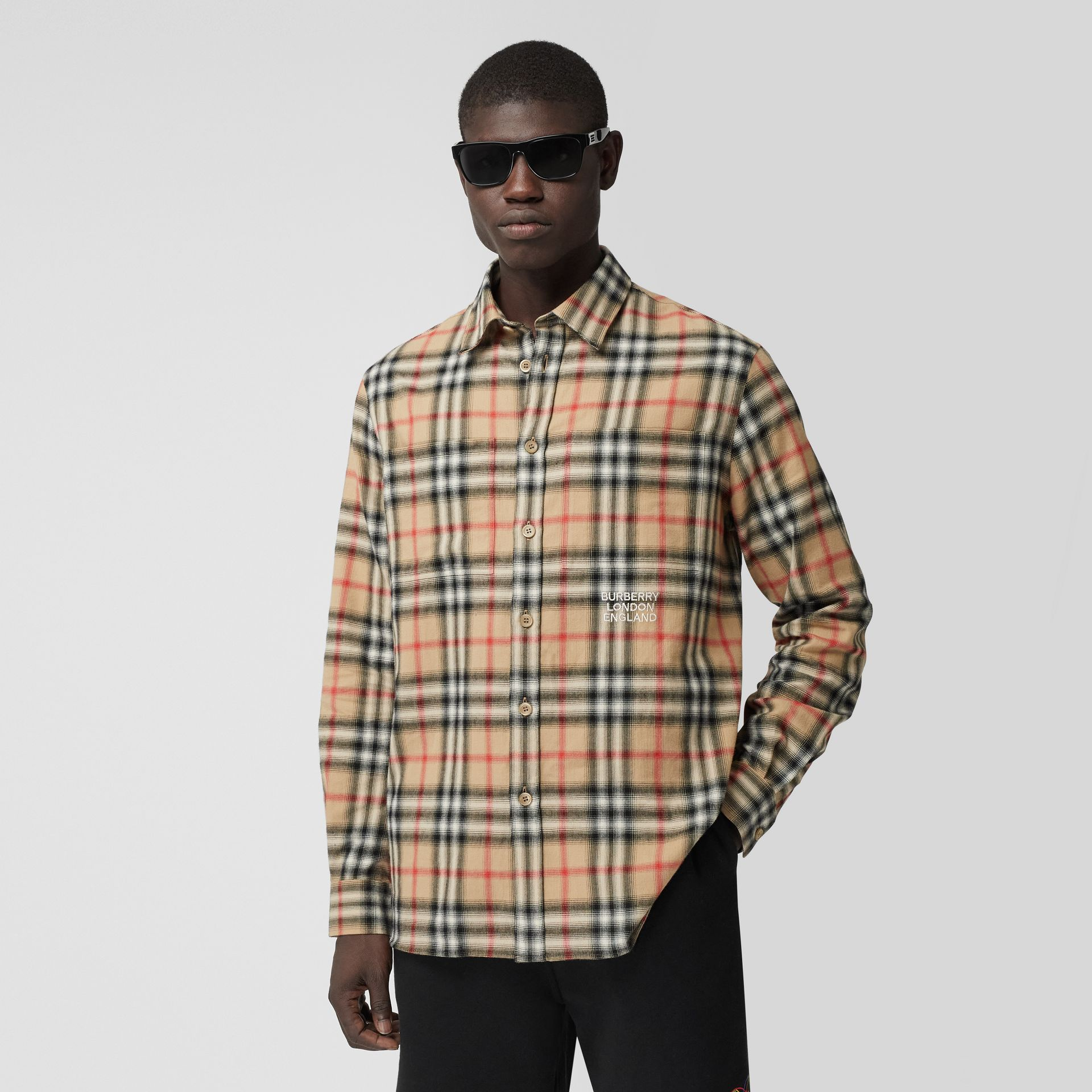 Ombré Check Cotton Flannel Oversized Shirt in Archive Beige - Men | Burberry - gallery image 0