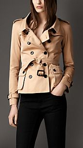 Oversize Collar Cotton Gabardine Jacket