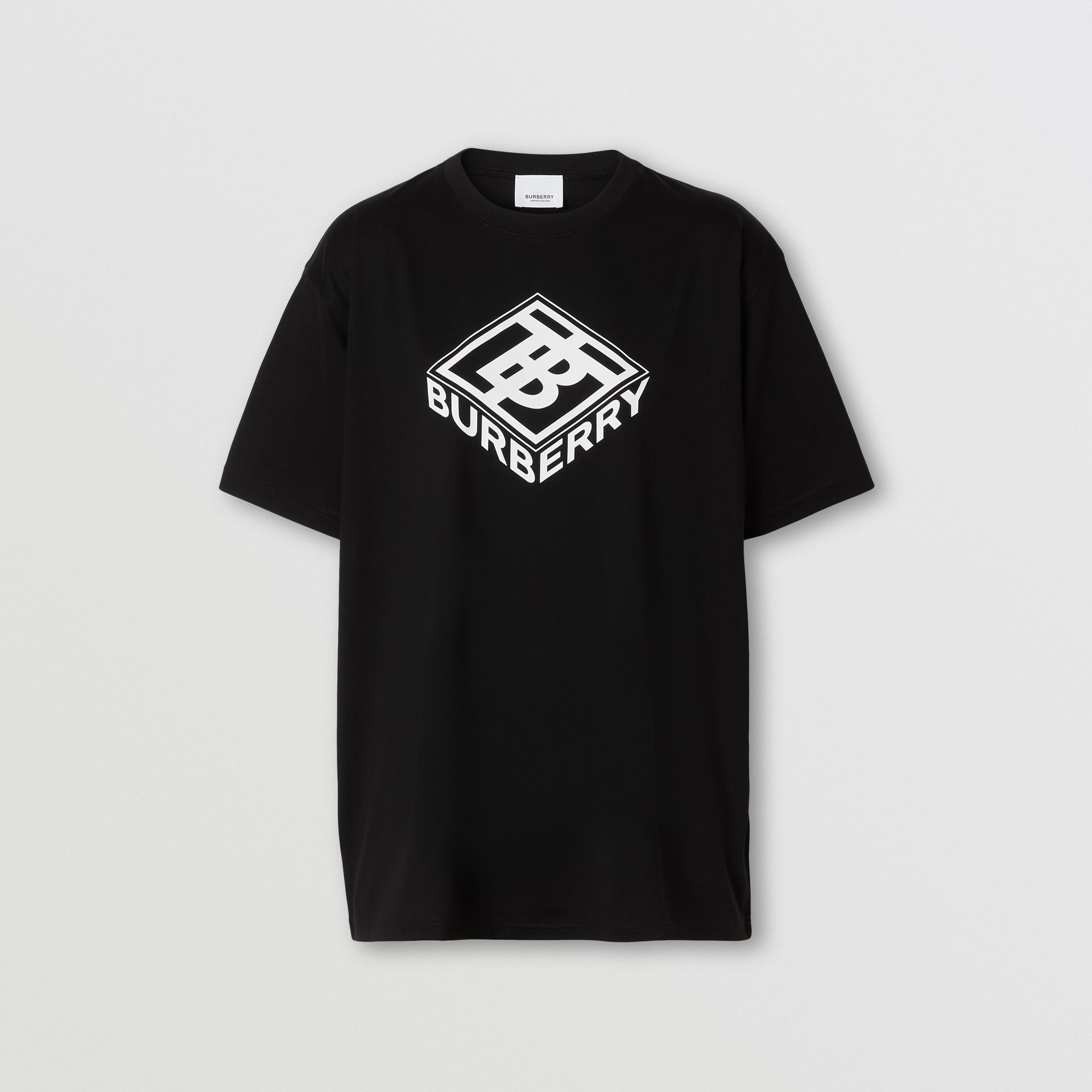 Logo Graphic Cotton T-shirt in Black - Women | Burberry - gallery image 0