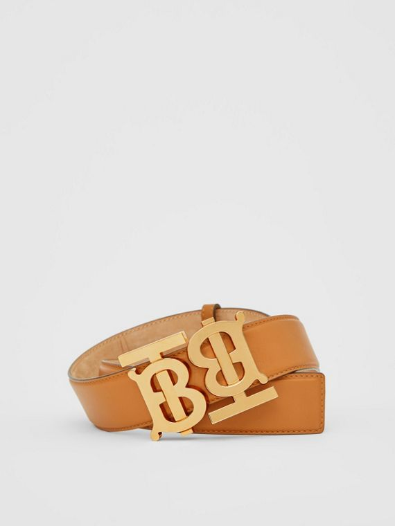 Double Monogram Motif Leather Belt in Warm Tan