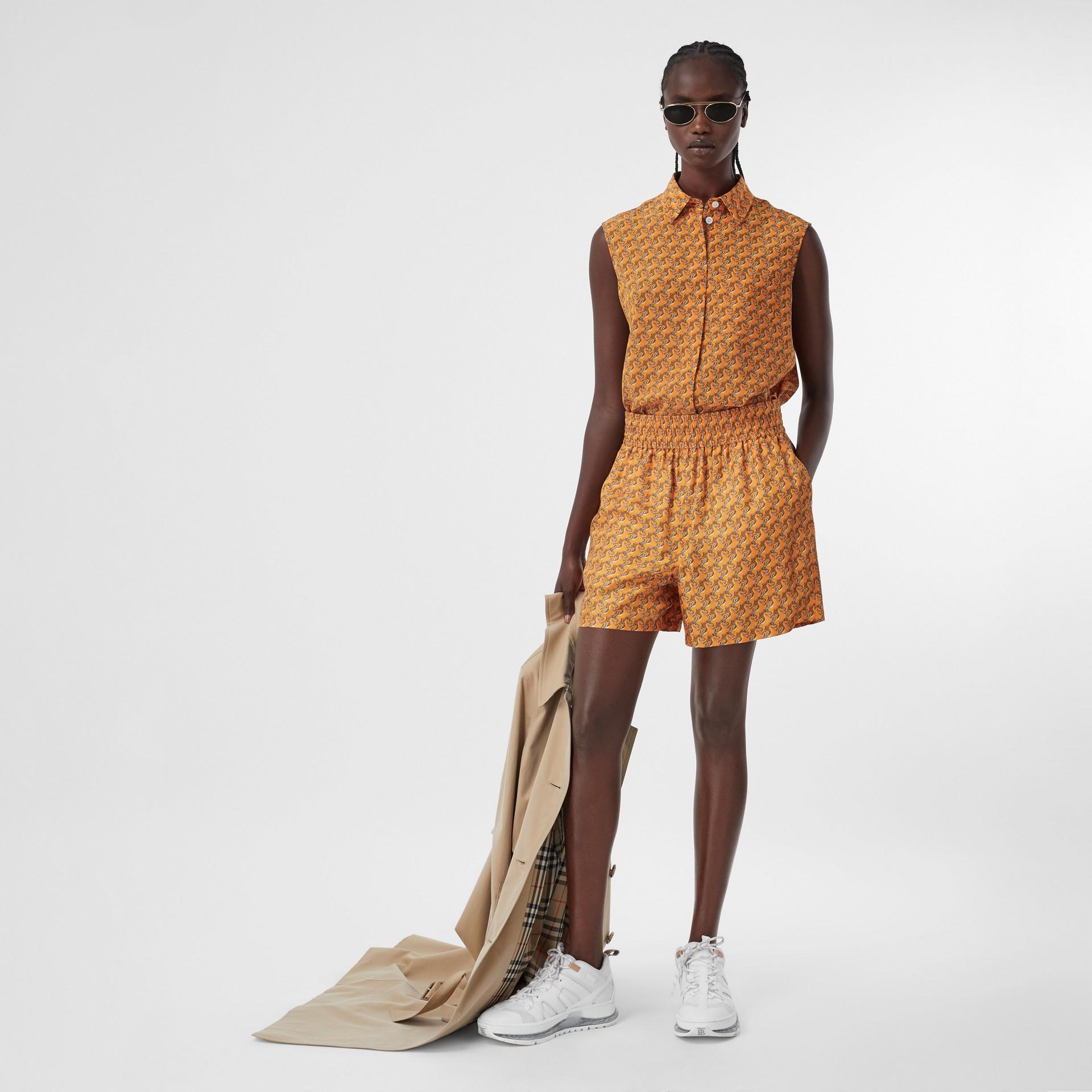 Unicorn Print Silk Twill Shorts in Bright Melon   Burberry United Kingdom - gallery image 0