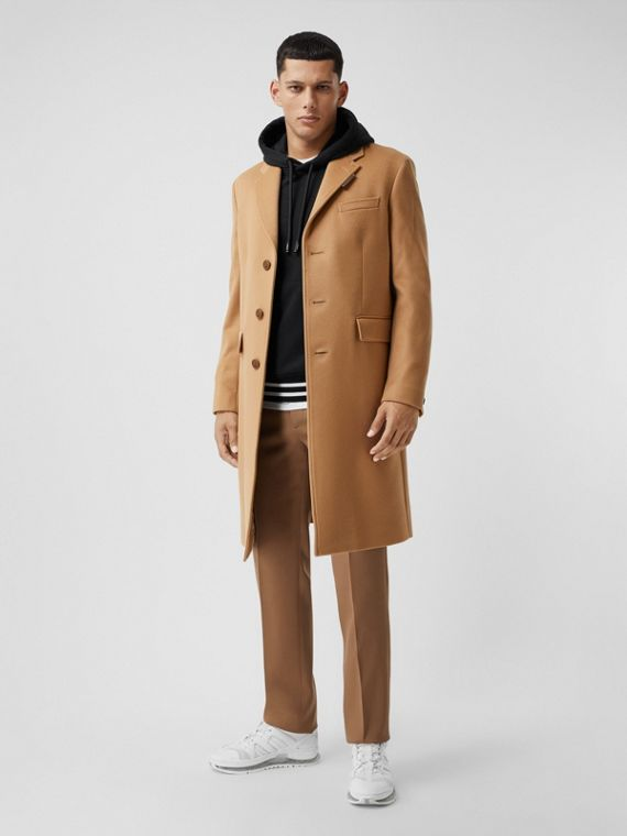 Button Detail Wool Cashmere Tailored Coat in Camel