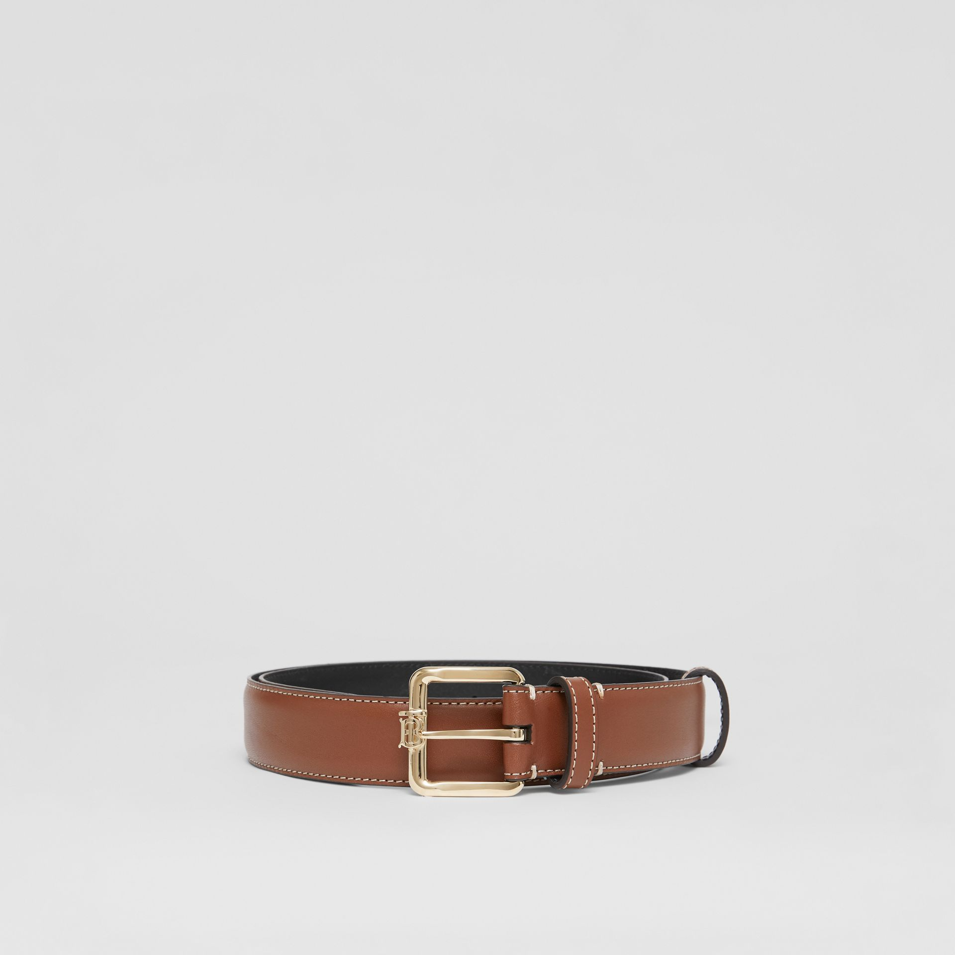 Monogram Motif Topstitched Leather Belt in Tan/light Gold - Women | Burberry - gallery image 3