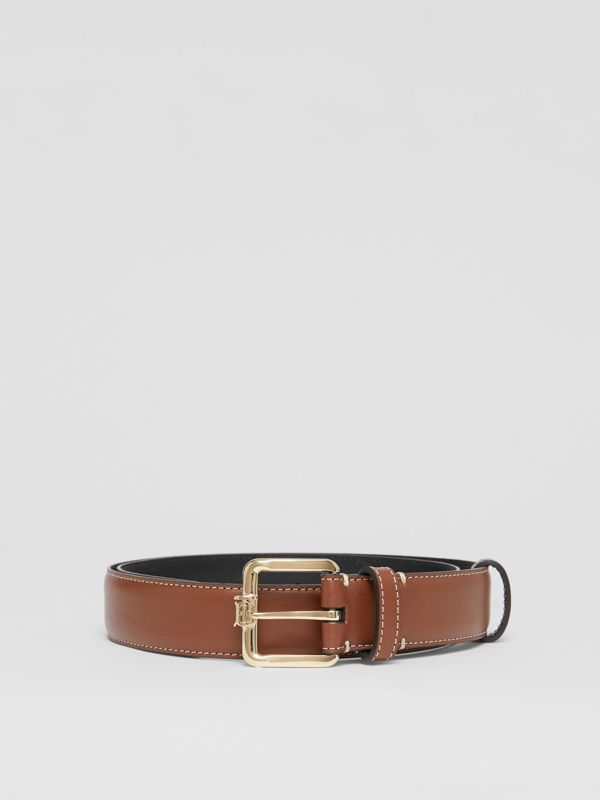 Monogram Motif Topstitched Leather Belt in Tan/light Gold - Women | Burberry - cell image 3