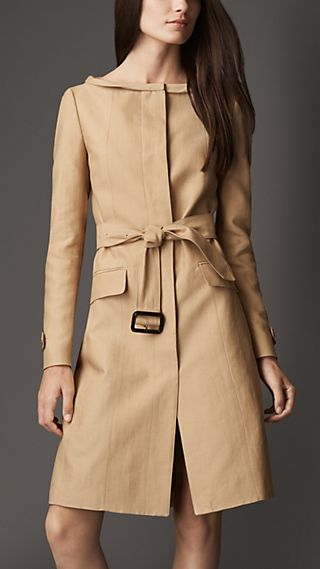 Dipped Collar Cotton Silk Coat
