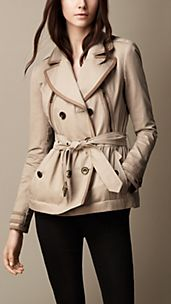 Short Suede Trim Trench Coat