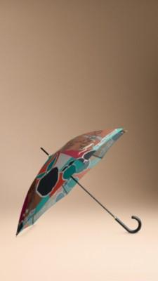 书封印花长柄雨伞