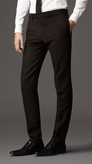 Slim Fit Wool Military Trousers