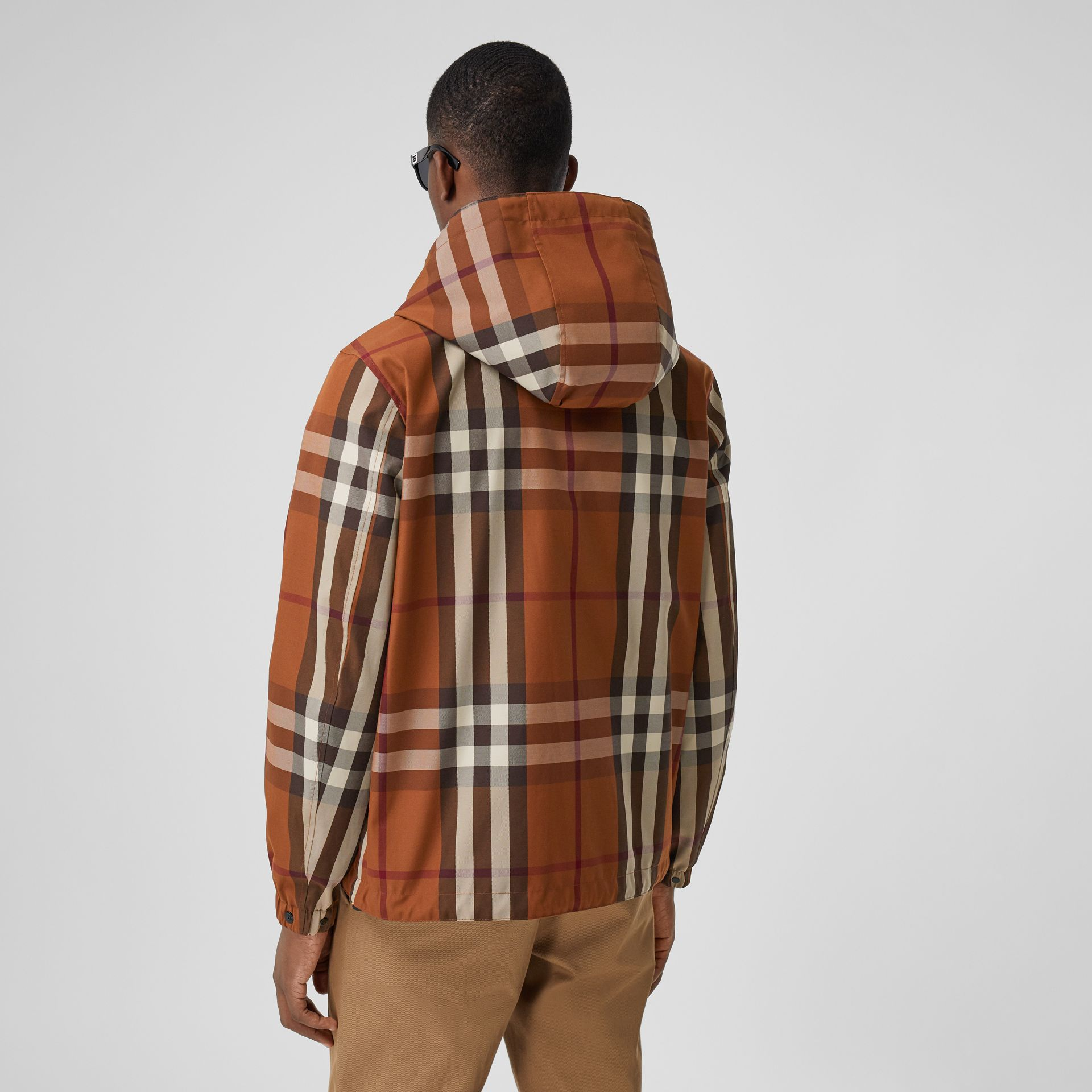 Reversible Check Technical Cotton Hooded Jacket in Dark Birch Brown - Men | Burberry - gallery image 2