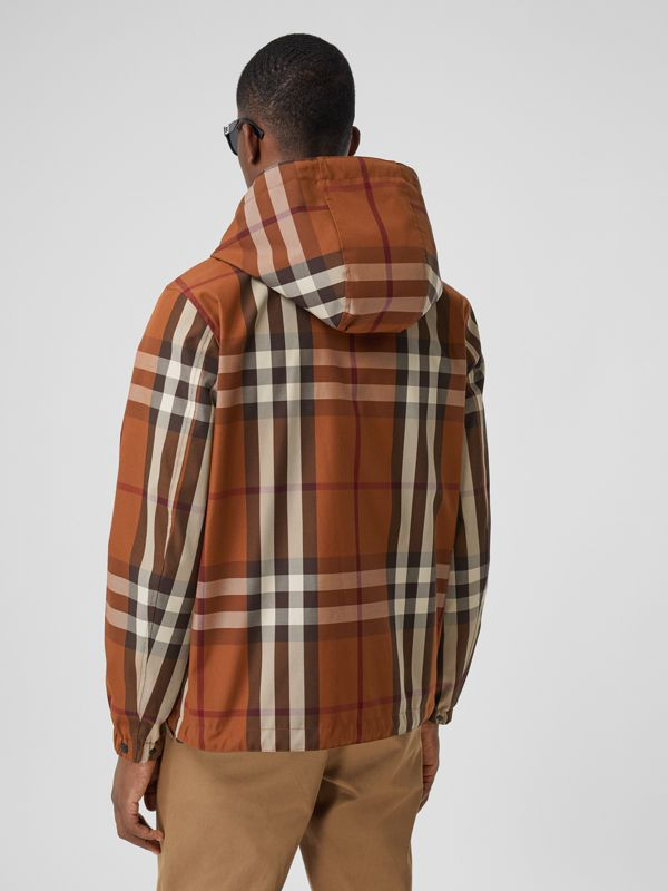 Reversible Check Technical Cotton Hooded Jacket in Dark Birch Brown - Men | Burberry - cell image 2
