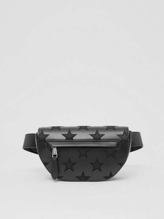 Star Motif Leather Olympia Bum Bag – Online Exclusive in Black