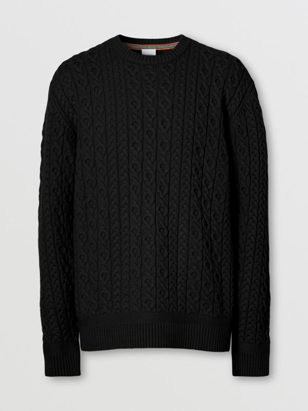 Cable Knit Wool Cashmere Sweater in Black - Men | Burberry Canada - cell image 3