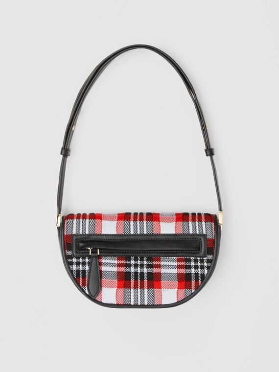 Mini Knitted Tartan and Leather Olympia Bag in Bright Red