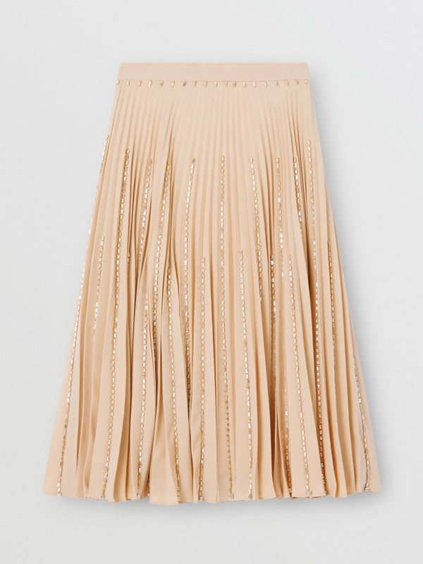 Crystal Detail Plissé Soleil Stretch Cady Skirt in Sesame - Women | Burberry - cell image 3