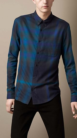 Ombre Check Cotton Shirt